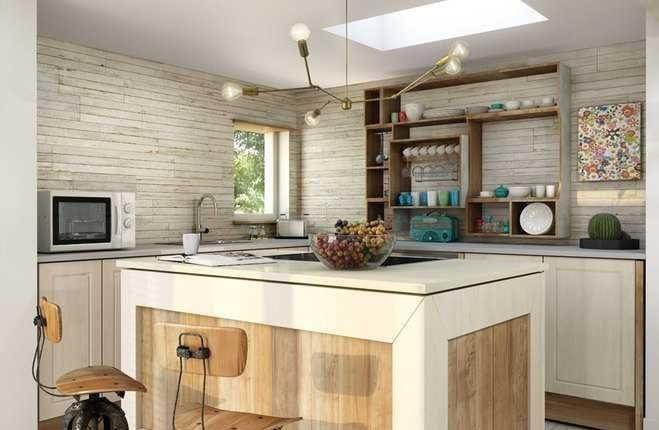 cocina con azulejos de madera en la pared una lampara de cinco brazos y una encimera en forma de isla recubierta de azulejos de madera