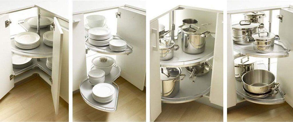 armarios de cocina bajos para esquinas con bandejas articuladas