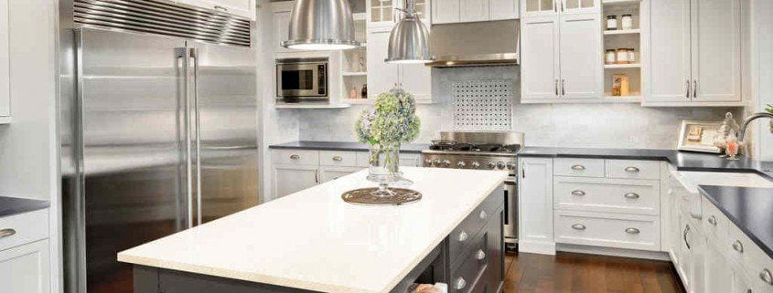 Kitchen silestone table and arround cabinet kitchen
