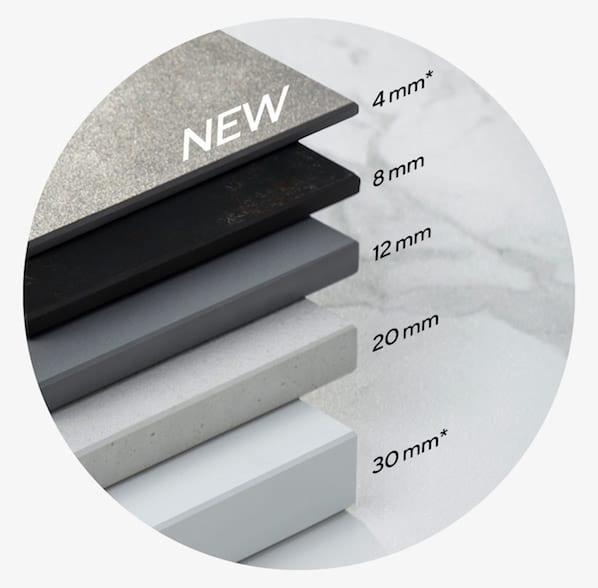 Esquema de los diferentes grosores disponibles para las tablas de Dekton.