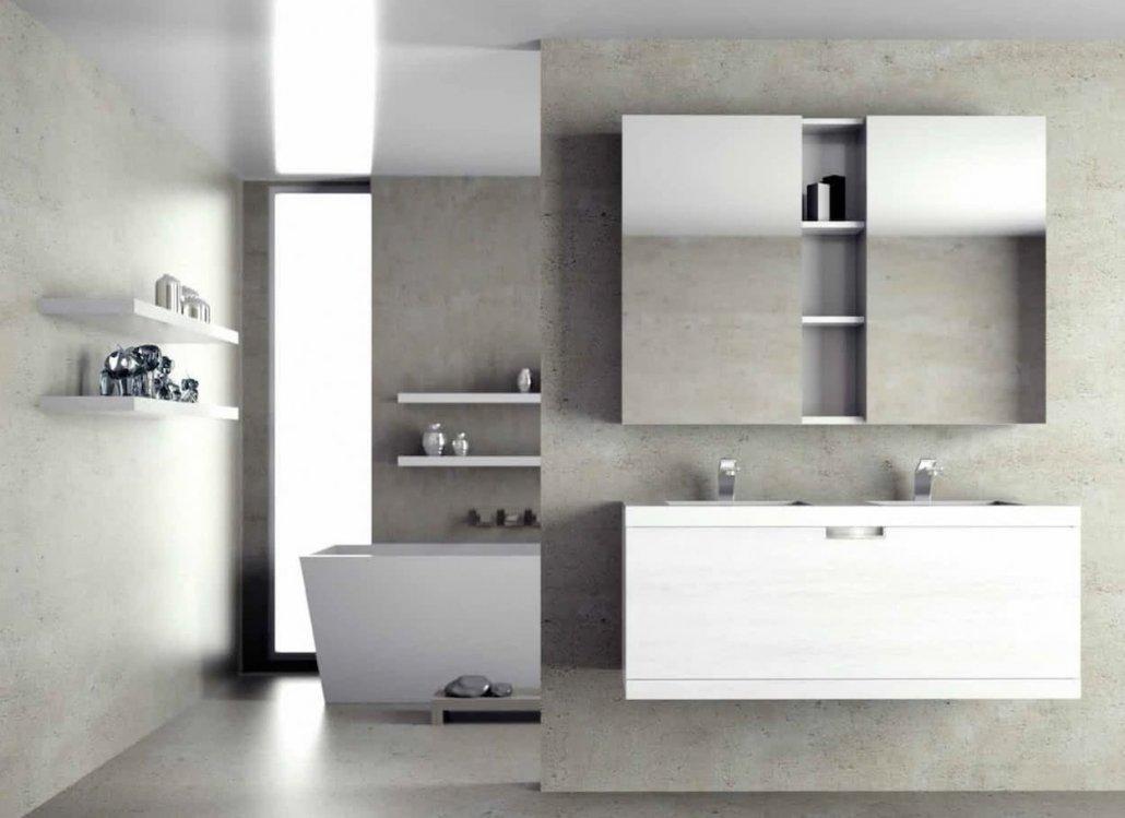 muebles de bano con 1 cajón de color blanco, 2 lavabos y bañera y con mueble auxiliar encima