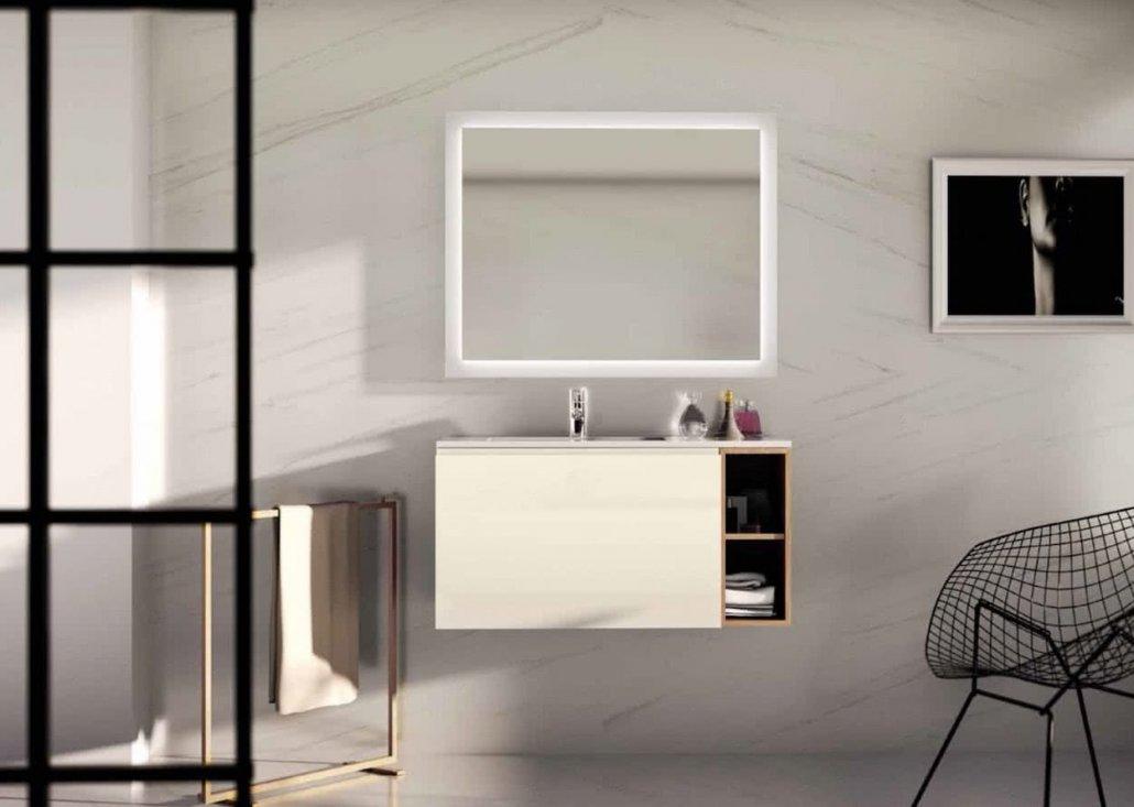 muebles de bano con 1 cajón de color crema y con espejo encima