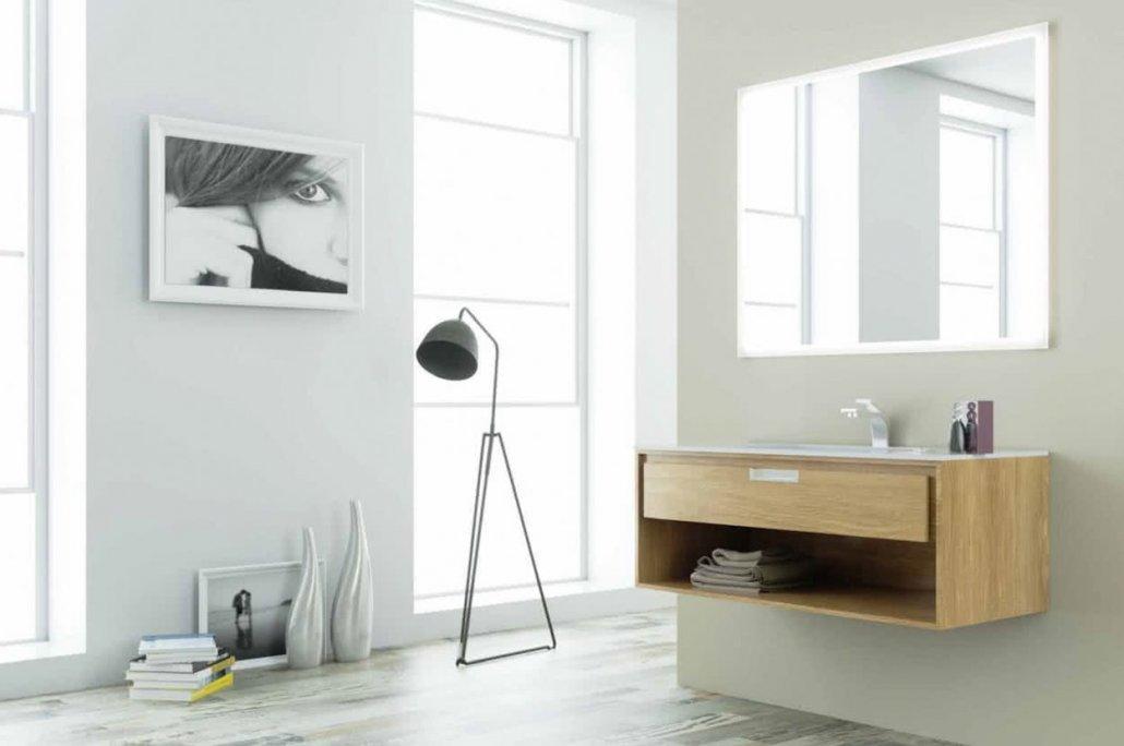 muebles de bano con 1 cajón de color marrón pino y con espejo