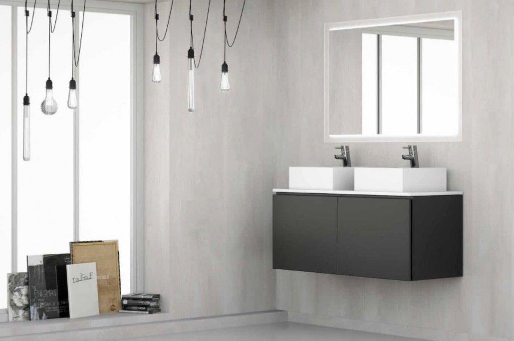 muebles de bano con 1 cajón de color gris oscuro, dos lavabos y con espejo