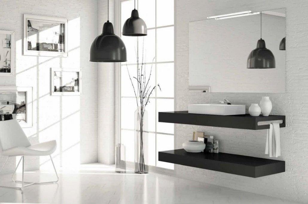 muebles de bano con 2 baldas de color marrón oscuro y con espejo