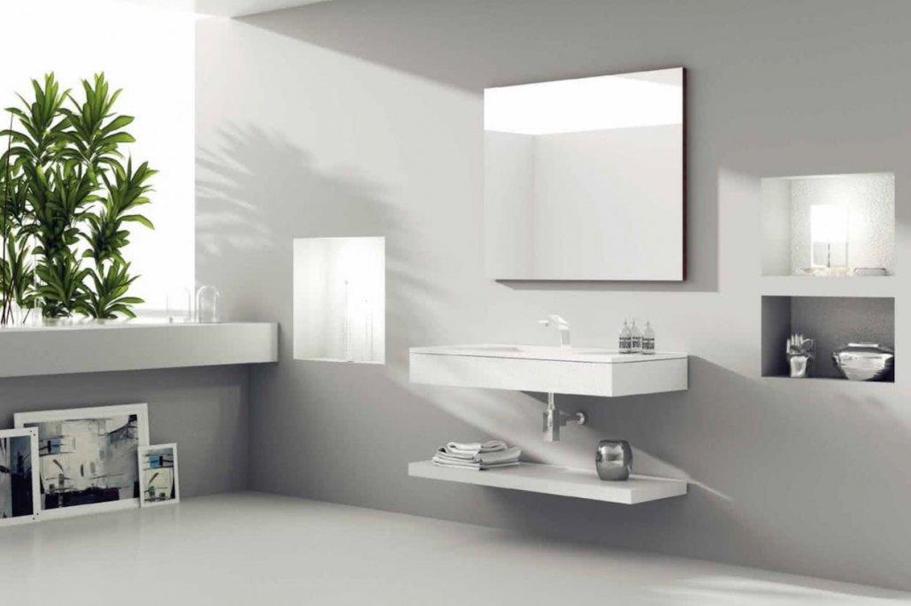 muebles de bano con 1 balda inclinada de color blanco y con espejo
