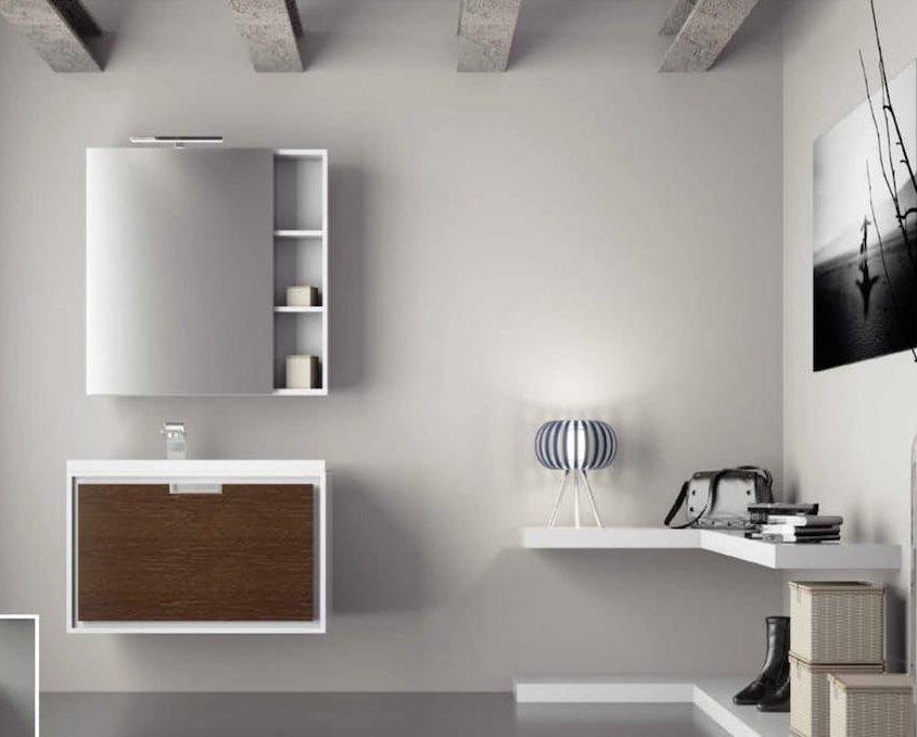 mueble de baño con un cajon de color madera marrón oscuro y mueble auxiliar encima color gris